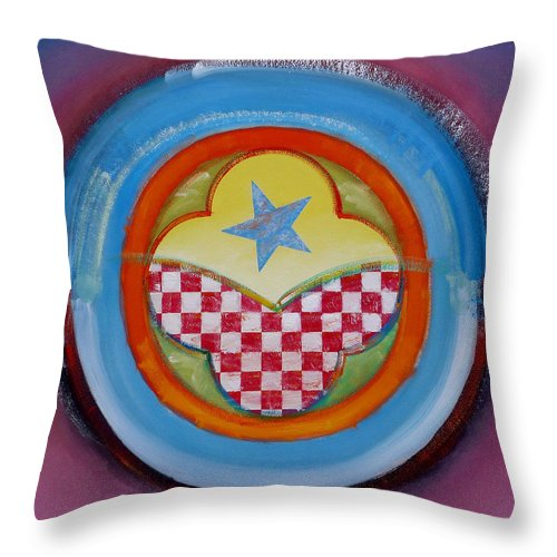 Logo Throw Pillow featuring the painting Flying Star by Charles Stuart