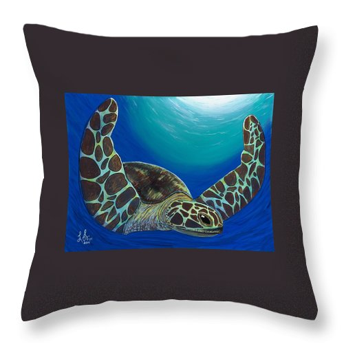 Sea Turtle Throw Pillow featuring the painting Flying Turtle by Luke Walker