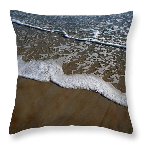 Beach Sand Wave Waves Foam Foamy White Sunny Clear Water Ocean Throw Pillow featuring the photograph Foamy Water by Andrei Shliakhau