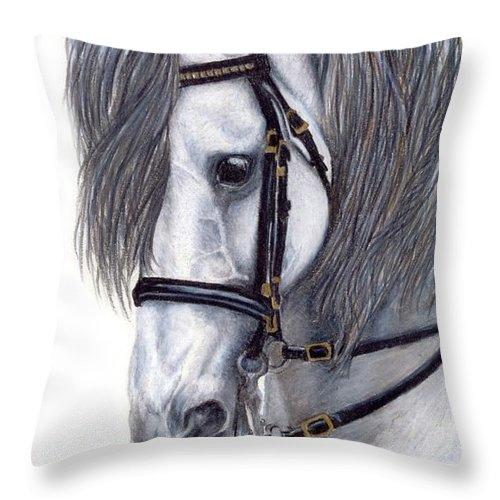 Horse Throw Pillow featuring the drawing Focus by Kristen Wesch