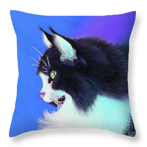 Cat Throw Pillow featuring the pastel Focus by Tracy L Teeter