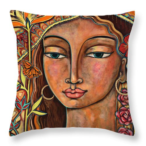 Bird Throw Pillow featuring the painting Focusing On Beauty by Shiloh Sophia McCloud