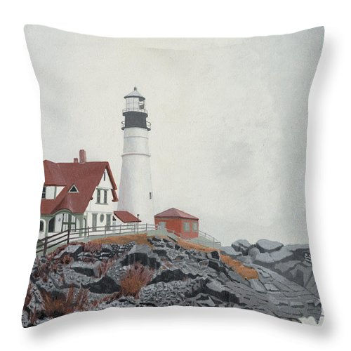 Lighthouse Throw Pillow featuring the painting Fog Approaching Portland Head Light by Dominic White