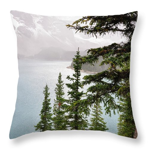 Alberta Throw Pillow featuring the photograph Fog Going Down At Lake Moraine by Daniela Constantinescu
