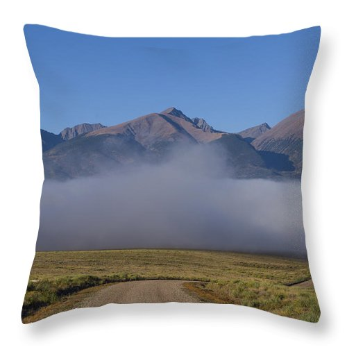 Colorado Photographs Throw Pillow featuring the photograph Fog In The Fast Lane by Gary Benson
