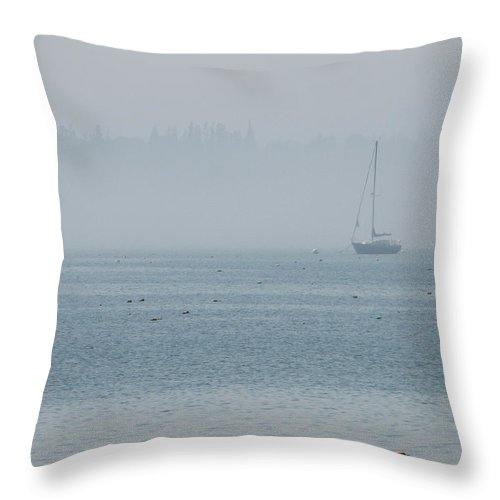 Fog Throw Pillow featuring the photograph Fog On Davis Cove by Kelly Mezzapelle