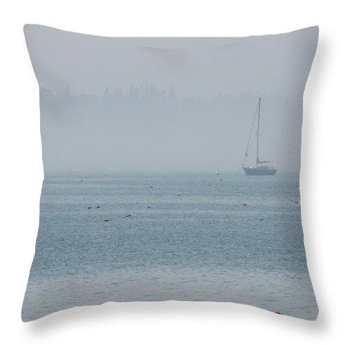 Fog Throw Pillow featuring the photograph Fog On Davis Cove by Kelly Mezzapelle