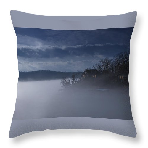 Lake Throw Pillow featuring the photograph Fog On The Lake - Dawn At The Lake Of The Ozarks, Missouri by Mitch Spence