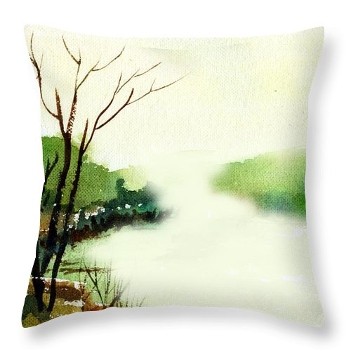 Water Color Throw Pillow featuring the painting Fog1 by Anil Nene