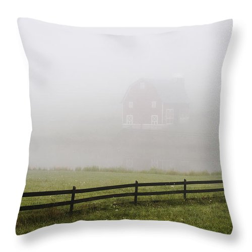 Barn Throw Pillow featuring the photograph Foggy Barn by Harold Stinnette