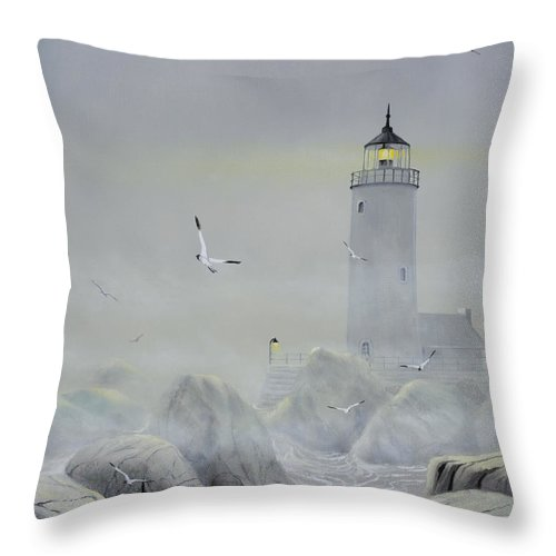Seascape Throw Pillow featuring the painting Foggy Light by Don Griffiths