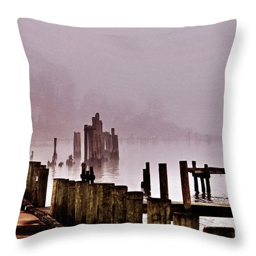 Clay Throw Pillow featuring the photograph Foggy Morn by Clayton Bruster