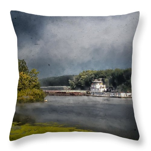 Landscape Throw Pillow featuring the photograph Foggy Morning At The Barge Harbor by Al Mueller