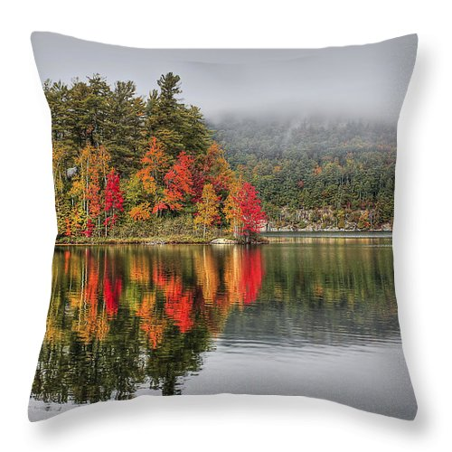 Autumn Throw Pillow featuring the photograph Foggy Morning by Evelina Kremsdorf