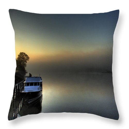 Fog Throw Pillow featuring the photograph Foggy Morning On The James River by Tim Wilson