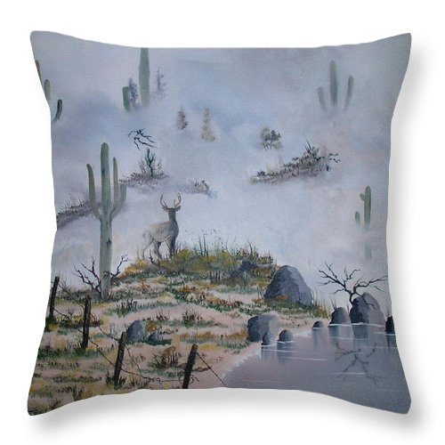 Animals Throw Pillow featuring the painting Foggy Morning by Patrick Trotter