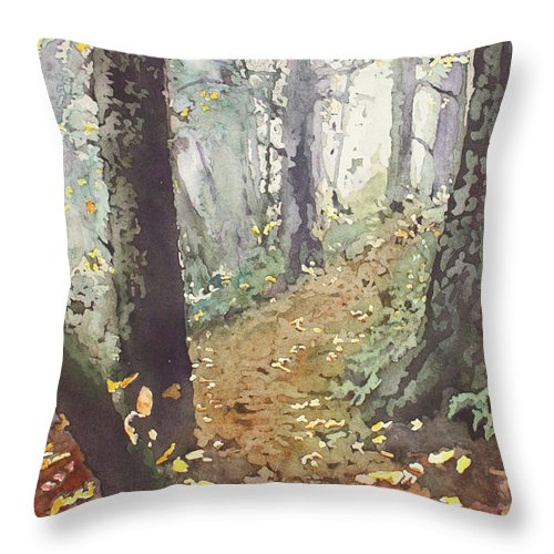 Oregon Throw Pillow featuring the painting Foggy Path by Jenny Armitage