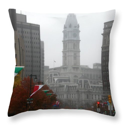 Photograph Throw Pillow featuring the photograph Foggy Philadelphia by Jan Gilmore