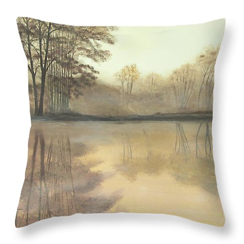 Nature Throw Pillow featuring the painting Foggy Reflections by Johanna Lerwick