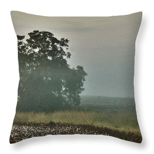 Flowers Throw Pillow featuring the digital art Foggy Tree In The Field by Michael Thomas