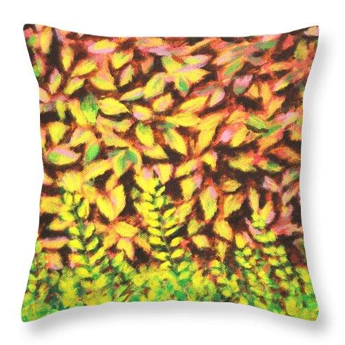 Foliage Throw Pillow featuring the painting Foliage 1 by Usha Shantharam
