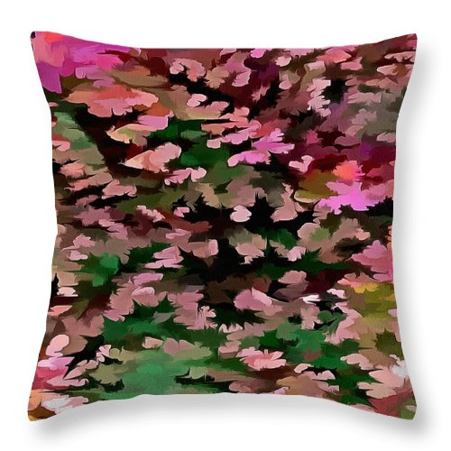 Dusty Miller Throw Pillow featuring the digital art Foliage Abstract In Pink, Peach And Green by Taiche Acrylic Art