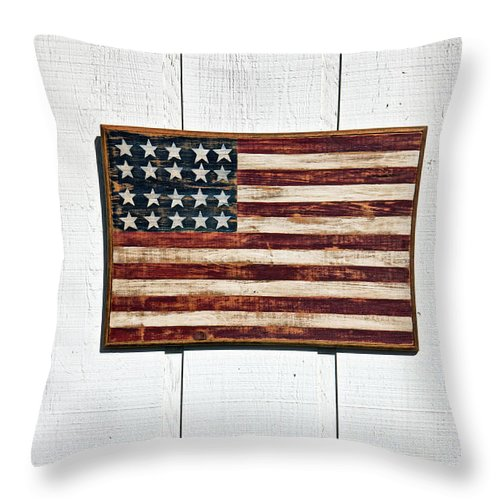 Folk Art American Flag Wooden Wall Throw Pillow featuring the photograph Folk Art American Flag On Wooden Wall by Garry Gay