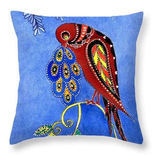 Blue Sky Throw Pillow featuring the painting Folk Art Bird by Connie Valasco