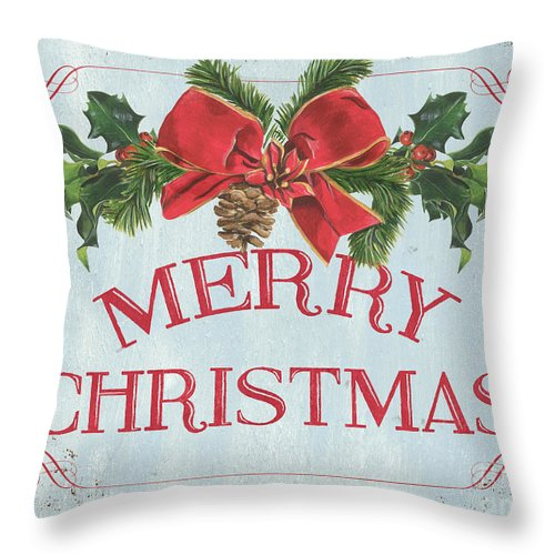 Pine Cone Throw Pillow featuring the painting Folk Merry Christmas by Debbie DeWitt