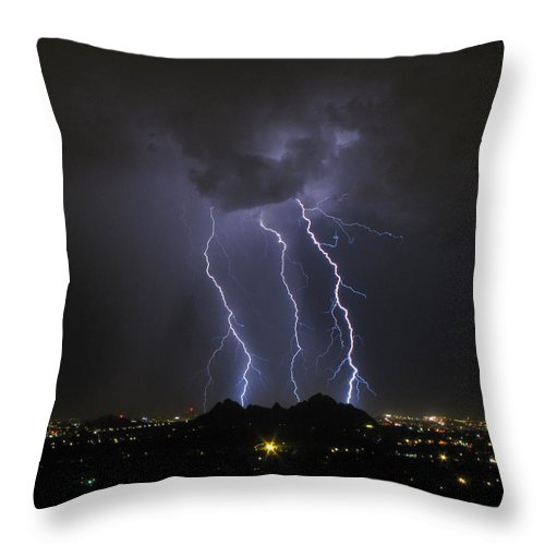 Lightning Throw Pillow featuring the photograph Follow The Leader by Cathy Franklin