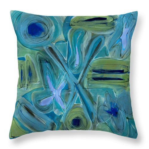 Abstract Throw Pillow featuring the painting Follow Your Bliss by Lynne Taetzsch