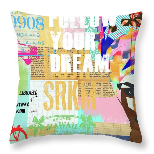 Follow Your Dream Throw Pillow featuring the mixed media Follow Your Dream Collage by Claudia Schoen