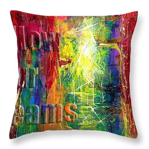 Greeting Cards Throw Pillow featuring the painting Follow Your Dreams Embossed by Thomas Lupari