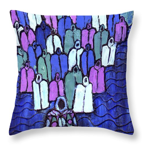 Ancestors Throw Pillow featuring the painting Following The Ancestors by Wayne Potrafka