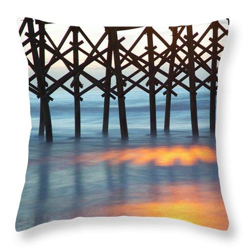Folly Beach Pier Throw Pillow featuring the photograph Folly Beach Abstract by Nancy Dunivin