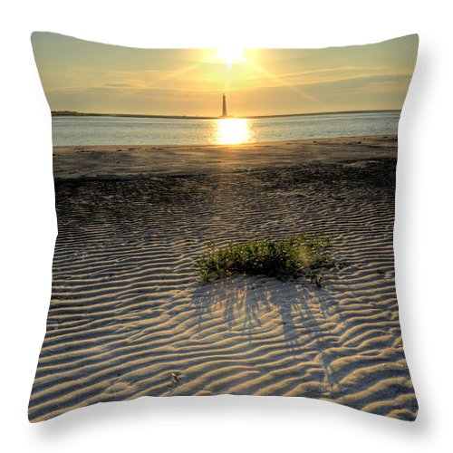 Morris Island Light House Morning Folly Beach Lowcountry South Carolina Landscape Water Beach Hdr Throw Pillow featuring the photograph Folly Beach First Light Over The Morris Island Lighthouse by Dustin K Ryan