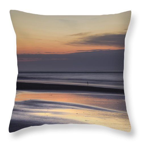 Folly Beach Lowcountry South Carolina Landscape Sunrise Couds Water Beach Night Hdr Morning Dawn Throw Pillow featuring the photograph Folly Beach Morning by Dustin K Ryan