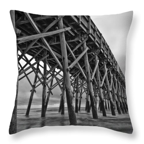 Folly Beach Throw Pillow featuring the photograph Folly Beach Pier Black And White by Dustin K Ryan