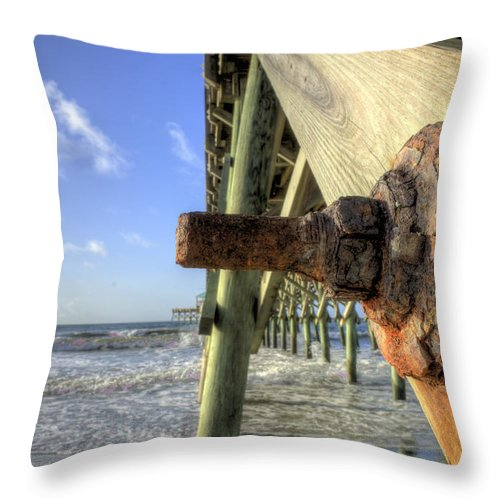 Folly Beach Lowcountry South Carolina Landscape Sunrise Couds Water Beach Night Hdr Dustin Ryan Throw Pillow featuring the photograph Folly Beach Pier Decay by Dustin K Ryan