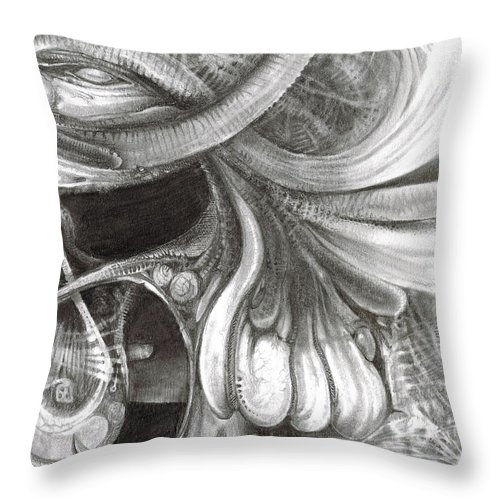 Throw Pillow featuring the drawing Fomorii Pod by Otto Rapp