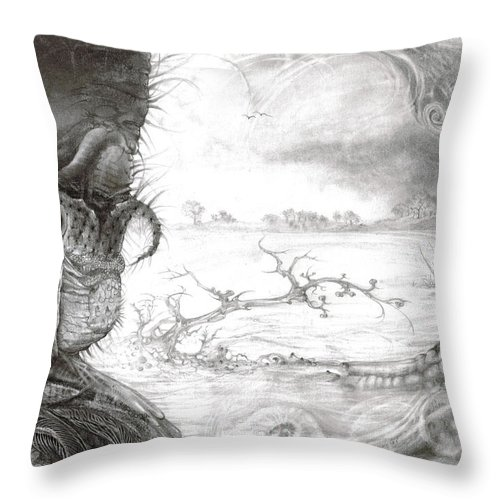 Fomorii Throw Pillow featuring the drawing Fomorii Swamp by Otto Rapp