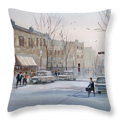 Ryan Radke Throw Pillow featuring the painting Fond Du Lac - Downtown by Ryan Radke
