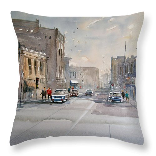 Watercolor Throw Pillow featuring the painting Fond Du Lac - Main Street by Ryan Radke