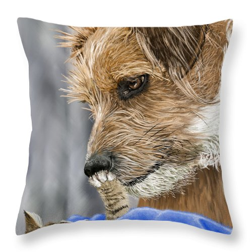 Dog Throw Pillow featuring the painting Friends of Norfolk Animal Care Center by Myke Irving