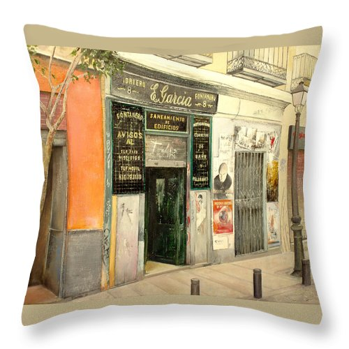 Streetscene Throw Pillow featuring the painting Fontaneria E.garcia by Tomas Castano