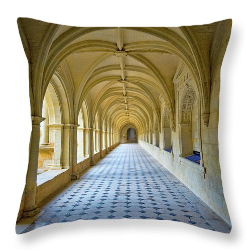 Fontevraud Abbey Cloister Throw Pillow featuring the photograph Fontevraud Abbey Cloister, Loire, France by Curt Rush
