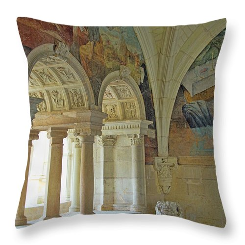 Fontevraud Abbey Refectory Throw Pillow featuring the photograph Fontevraud Abbey Refectory, Loire, France by Curt Rush