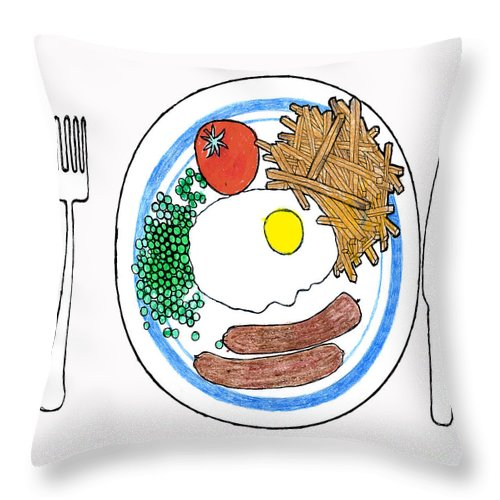 Fries Throw Pillow featuring the drawing Food Of The Gods by Andy Mercer
