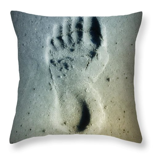 Foot Print Throw Pillow featuring the photograph Foot Print In The Sand by Bill Cannon