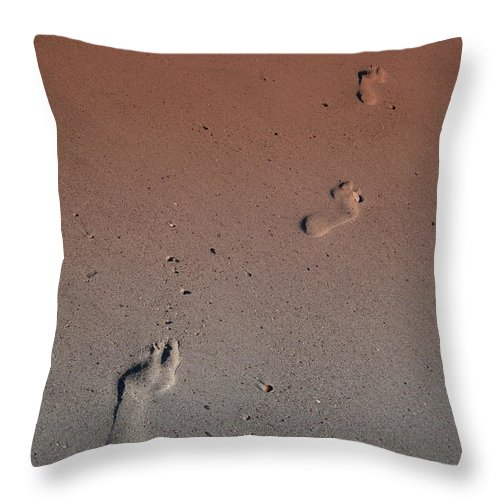 Foot Print Photos Throw Pillow featuring the photograph Foot Prints On The Beach by Susanne Van Hulst